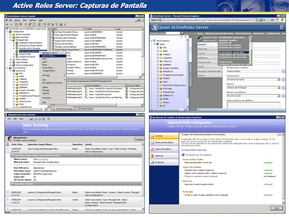 Active Roles Server: Capturas de Pantalla