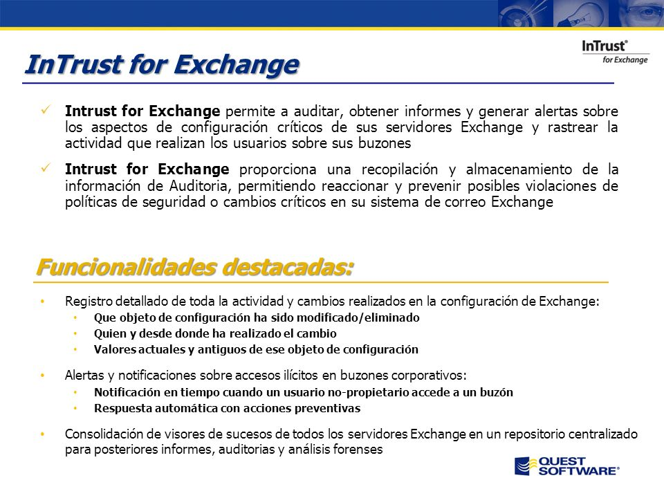 InTrust for Exchange Funcionalidades destacadas: