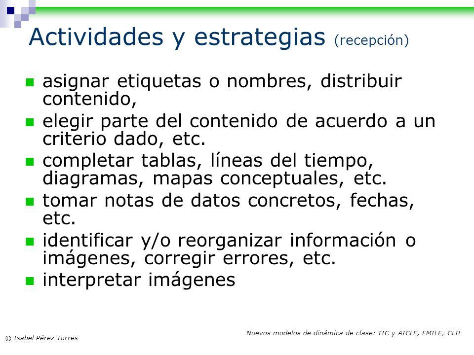 Actividades y estrategias (recepción)