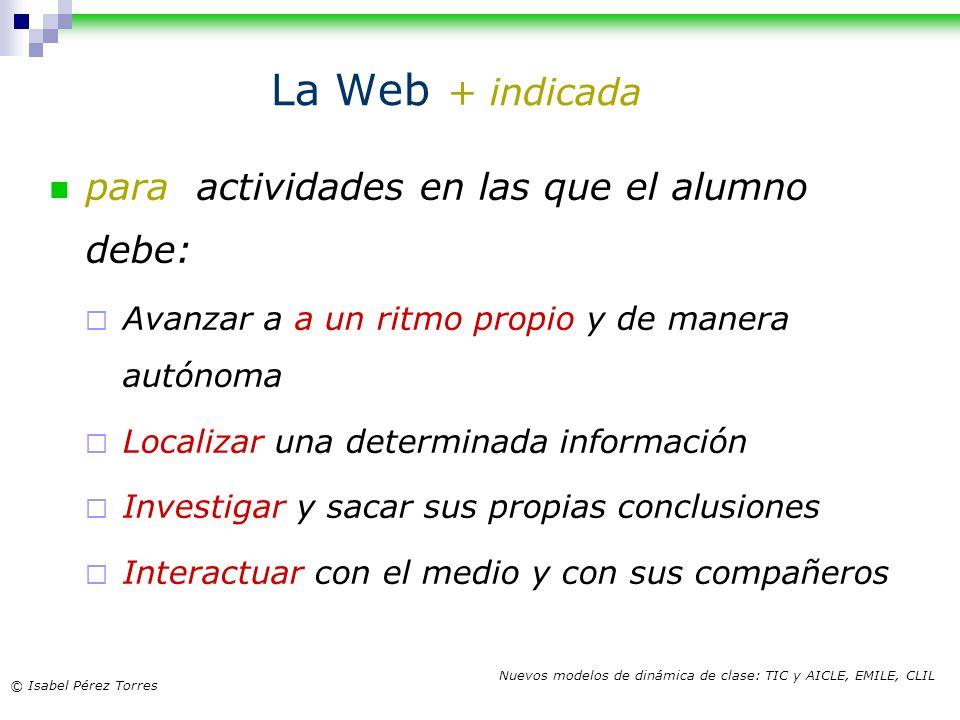 La Web + indicada para actividades en las que el alumno debe: