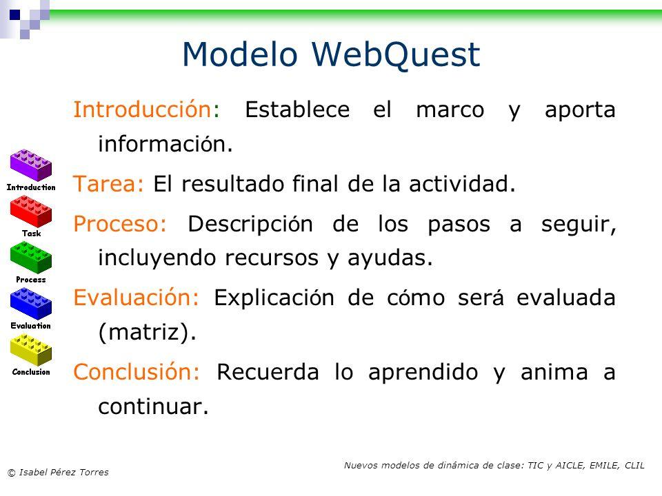Modelo WebQuest Introducción: Establece el marco y aporta información.