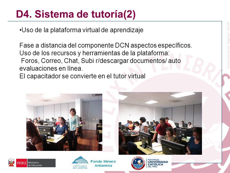 D4. Sistema de tutoría(2) Uso de la plataforma virtual de aprendizaje