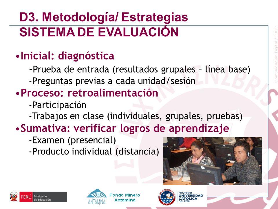 D3. Metodología/ Estrategias SISTEMA DE EVALUACIÓN