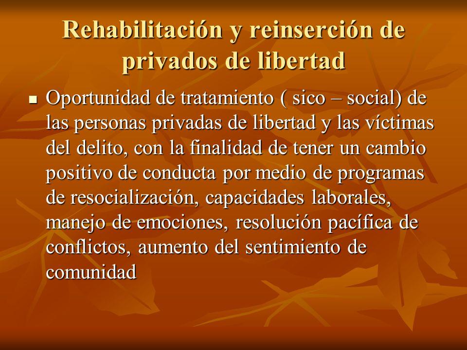 Rehabilitación y reinserción de privados de libertad