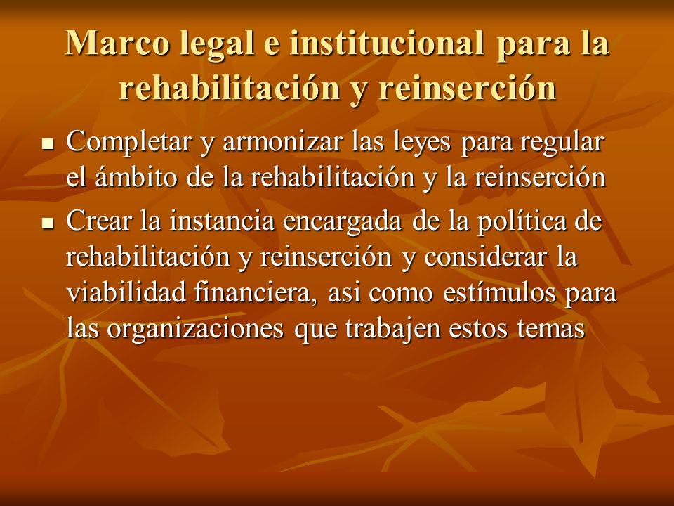 Marco legal e institucional para la rehabilitación y reinserción