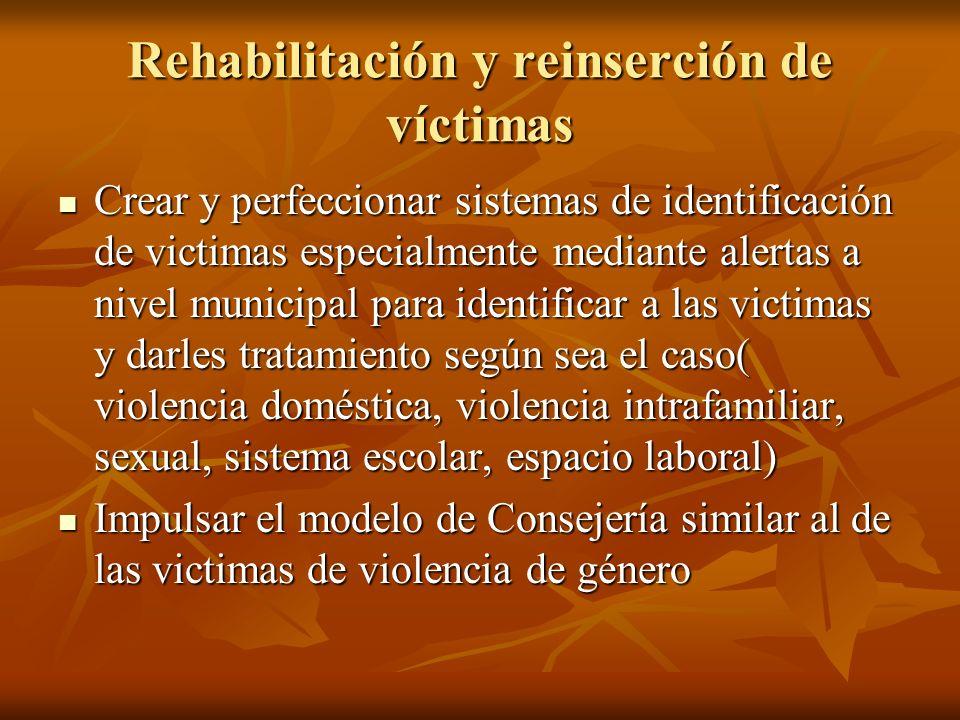 Rehabilitación y reinserción de víctimas