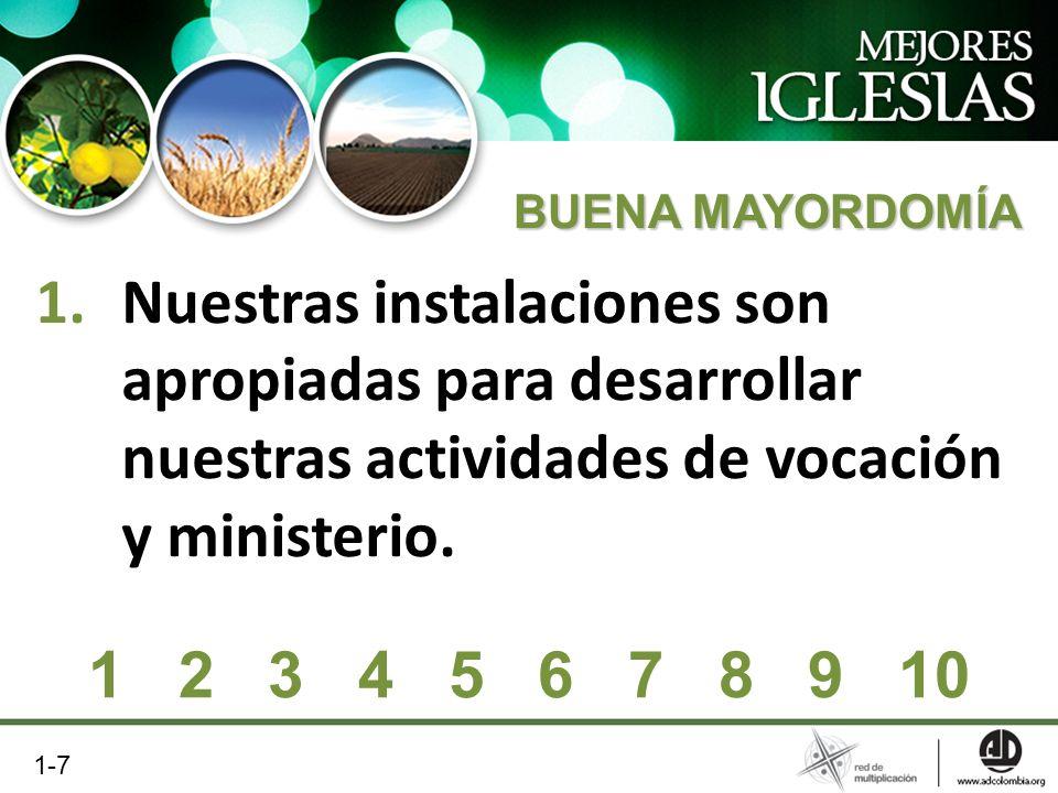 BUENA MAYORDOMÍA Nuestras instalaciones son apropiadas para desarrollar nuestras actividades de vocación y ministerio.