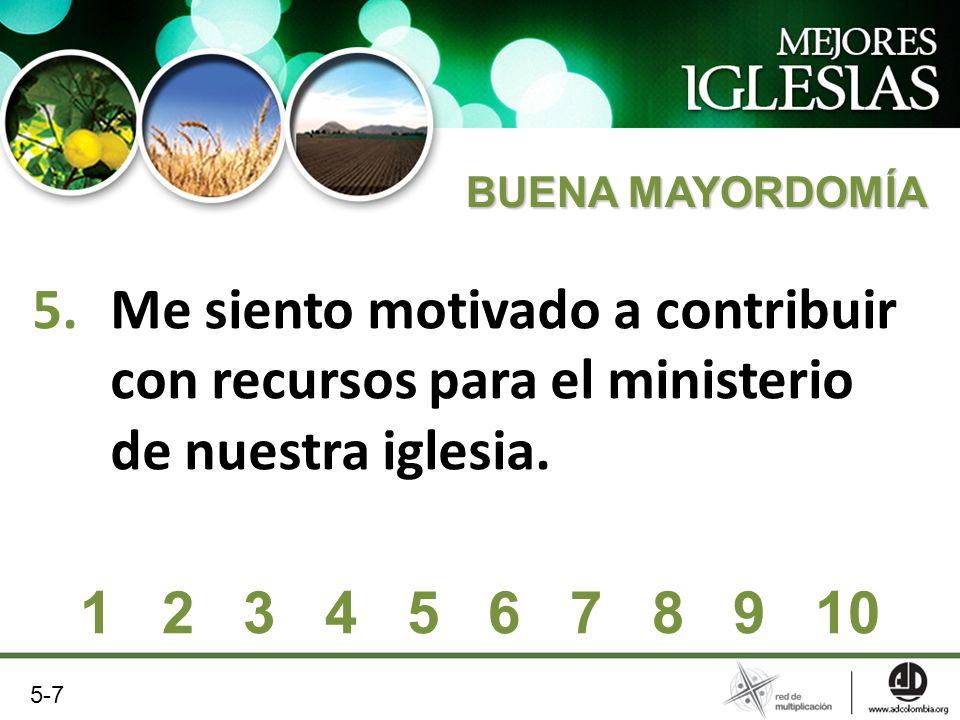 BUENA MAYORDOMÍA Me siento motivado a contribuir con recursos para el ministerio de nuestra iglesia.