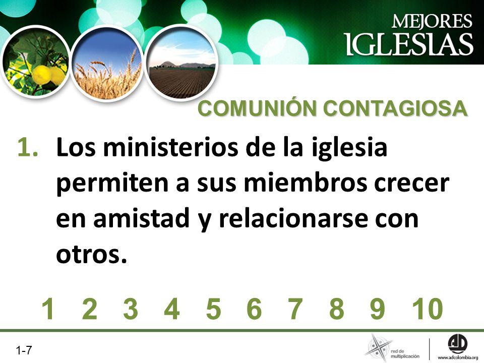 COMUNIÓN CONTAGIOSA Los ministerios de la iglesia permiten a sus miembros crecer en amistad y relacionarse con otros.