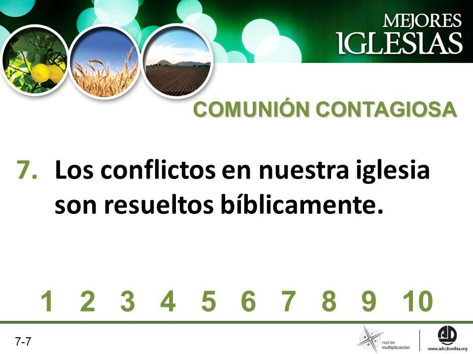 Los conflictos en nuestra iglesia son resueltos bíblicamente.