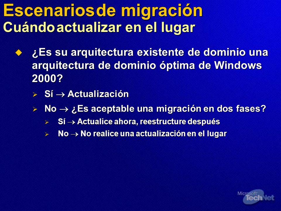 Escenarios de migración Cuándo actualizar en el lugar