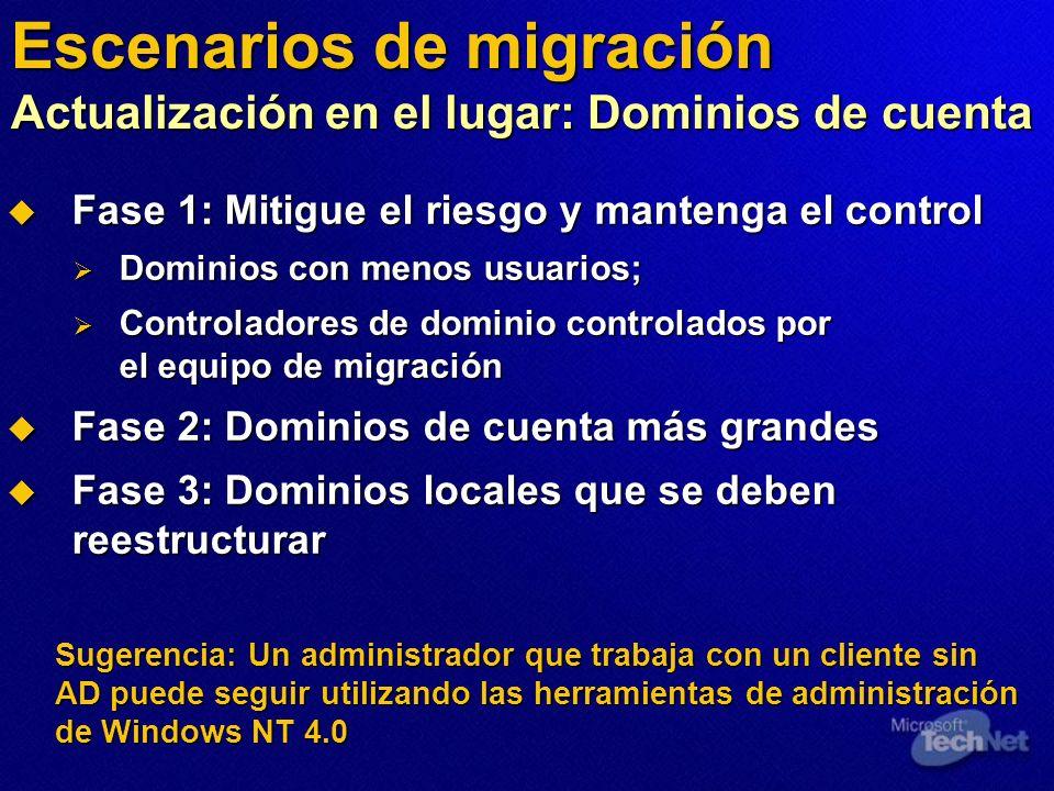 Escenarios de migración Actualización en el lugar: Dominios de cuenta