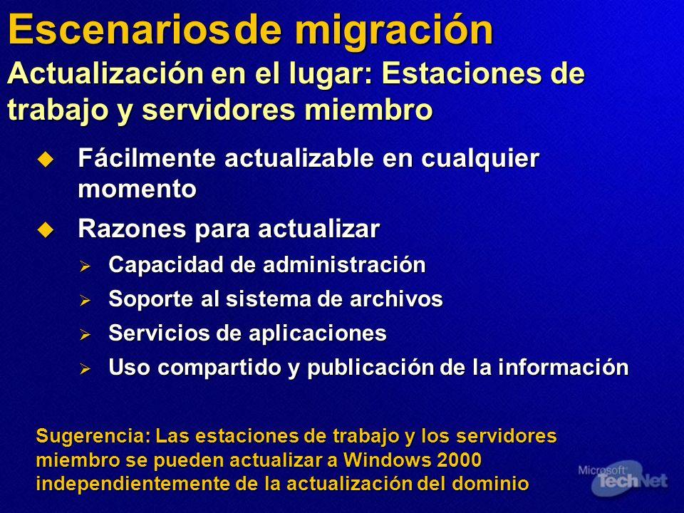 Escenarios de migración Actualización en el lugar: Estaciones de