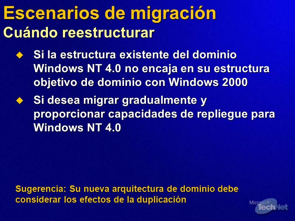 Escenarios de migración Cuándo reestructurar