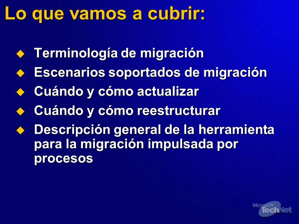 Lo que vamos a cubrir: Terminología de migración