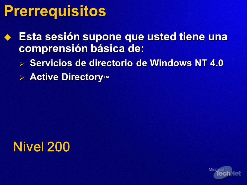 Prerrequisitos Esta sesión supone que usted tiene una comprensión básica de: Servicios de directorio de Windows NT 4.0.