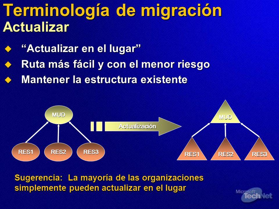 Terminología de migración Actualizar