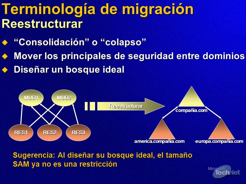 Terminología de migración Reestructurar