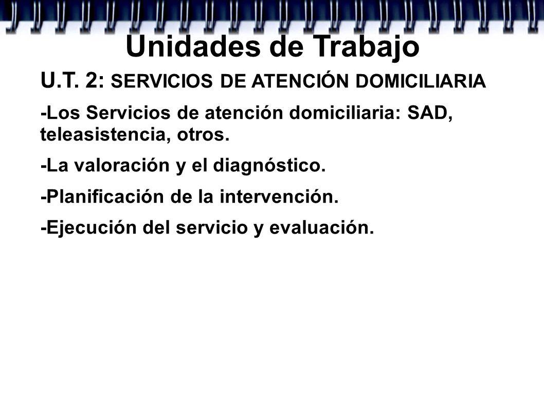 Unidades de Trabajo U.T. 2: SERVICIOS DE ATENCIÓN DOMICILIARIA