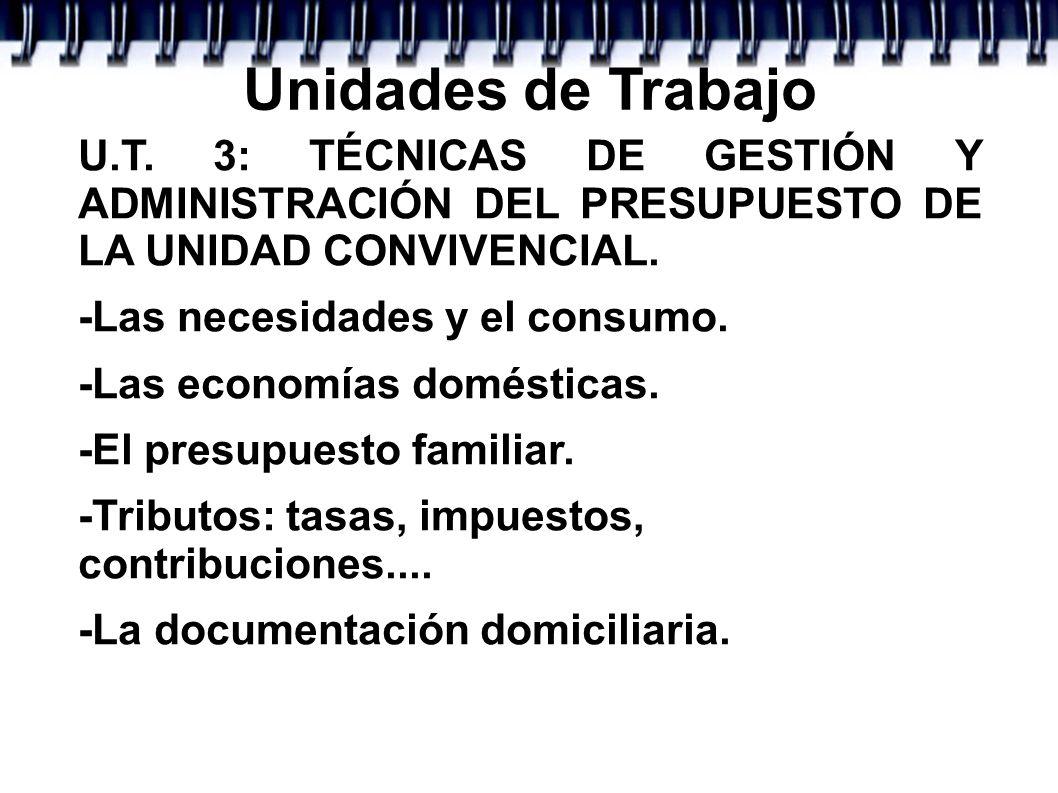 Unidades de TrabajoU.T. 3: TÉCNICAS DE GESTIÓN Y ADMINISTRACIÓN DEL PRESUPUESTO DE LA UNIDAD CONVIVENCIAL.
