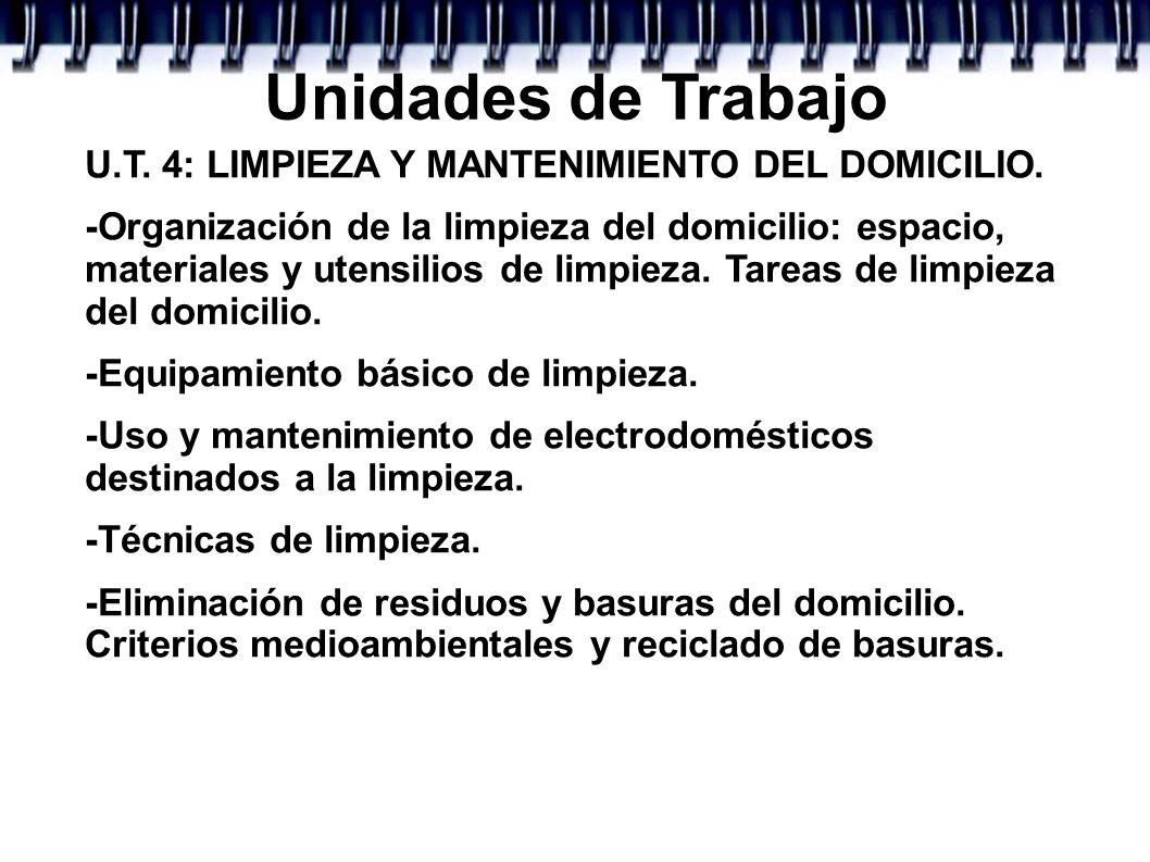 Unidades de Trabajo U.T. 4: LIMPIEZA Y MANTENIMIENTO DEL DOMICILIO.