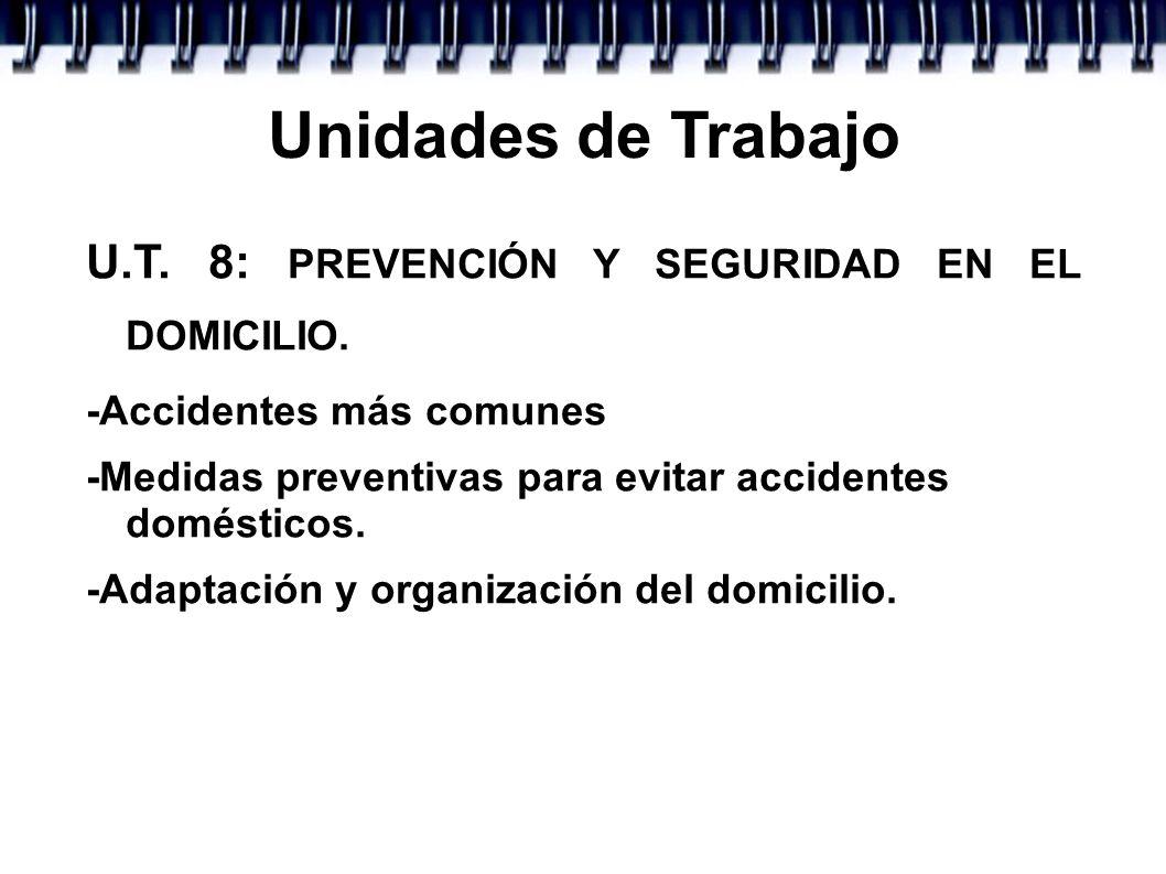 Unidades de Trabajo U.T. 8: PREVENCIÓN Y SEGURIDAD EN EL DOMICILIO.
