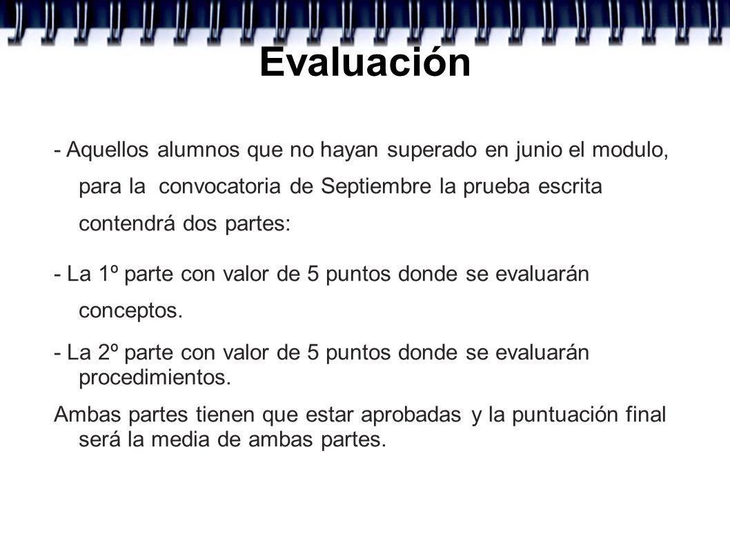 Evaluación- Aquellos alumnos que no hayan superado en junio el modulo, para la convocatoria de Septiembre la prueba escrita contendrá dos partes:
