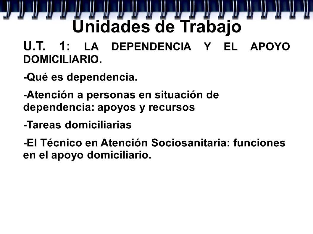 Unidades de Trabajo U.T. 1: LA DEPENDENCIA Y EL APOYO DOMICILIARIO.