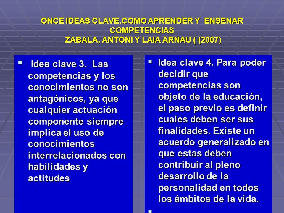 ONCE IDEAS CLAVE.COMO APRENDER Y ENSENAR COMPETENCIAS ZABALA, ANTONI Y LAIA ARNAU ( (2007)