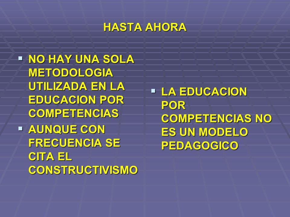 HASTA AHORA NO HAY UNA SOLA METODOLOGIA UTILIZADA EN LA EDUCACION POR COMPETENCIAS. AUNQUE CON FRECUENCIA SE CITA EL CONSTRUCTIVISMO.