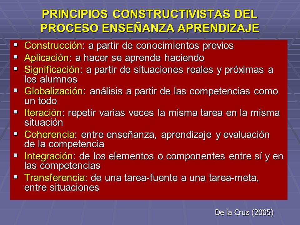 PRINCIPIOS CONSTRUCTIVISTAS DEL PROCESO ENSEÑANZA APRENDIZAJE