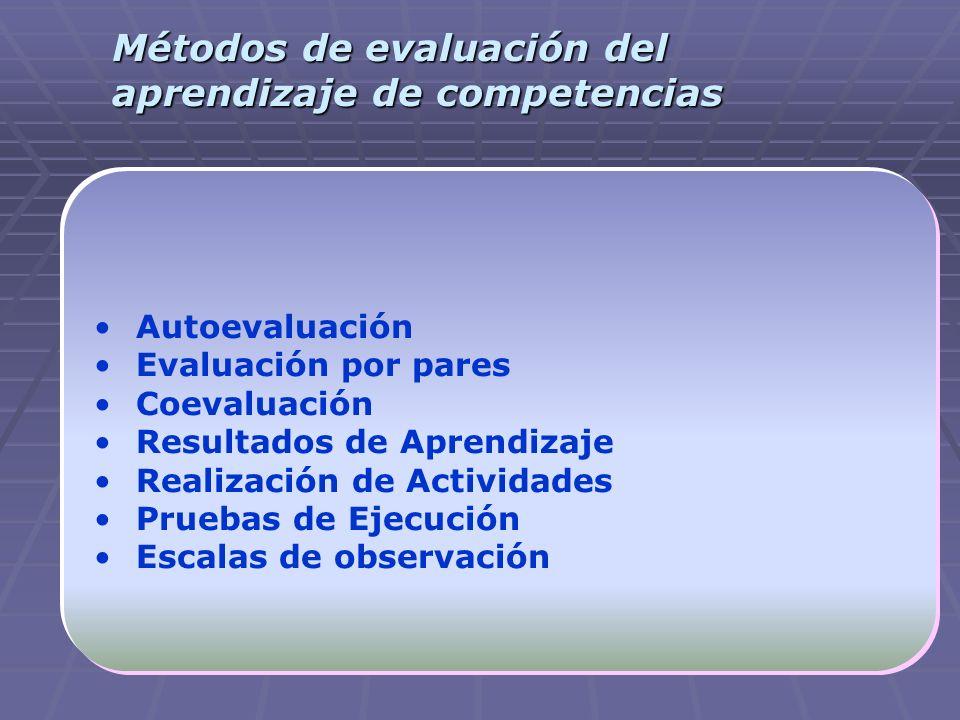 Métodos de evaluación del aprendizaje de competencias