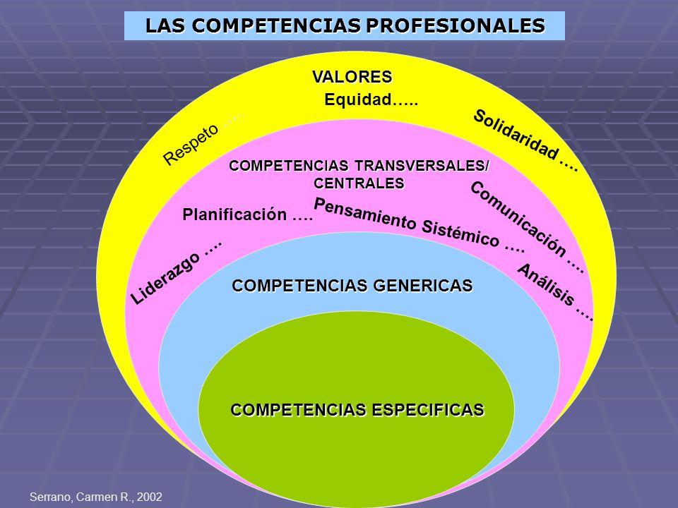LAS COMPETENCIAS PROFESIONALES COMPETENCIAS TRANSVERSALES/