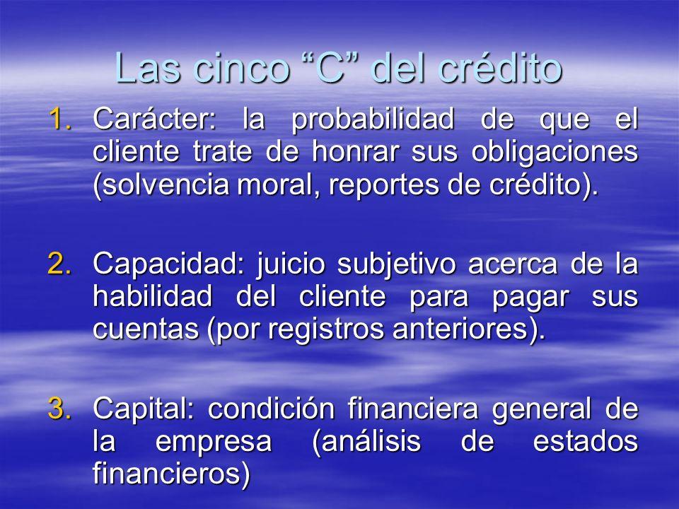 Las cinco C del crédito