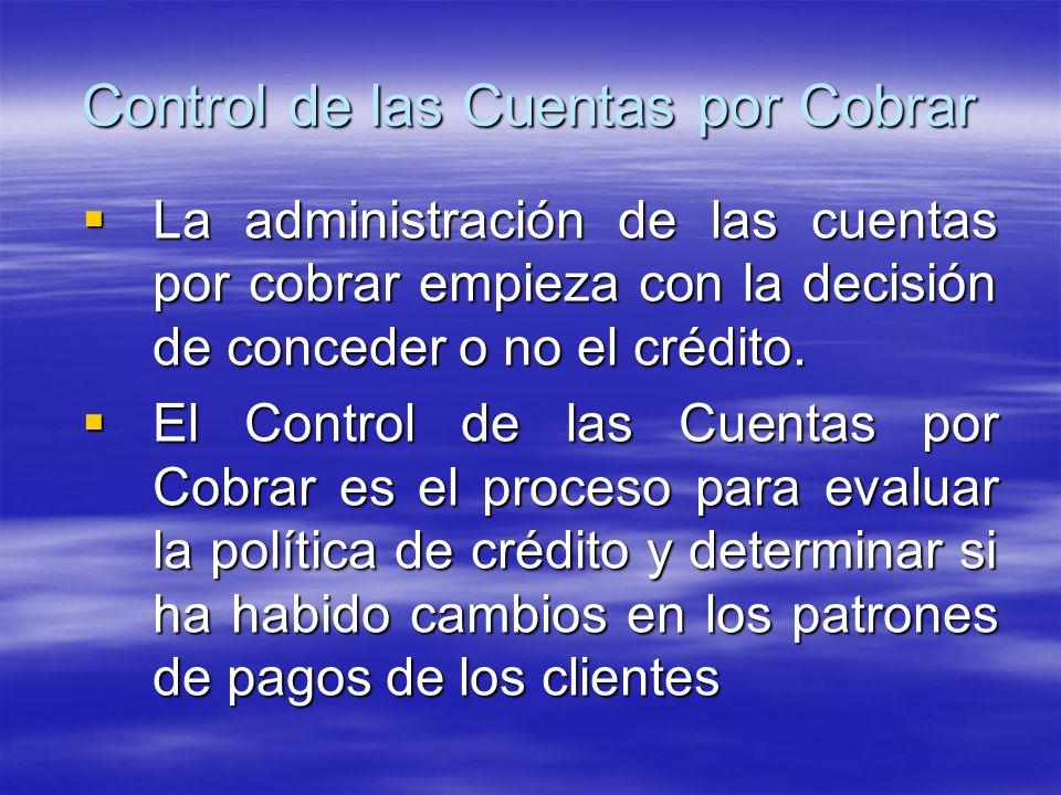 Control de las Cuentas por Cobrar