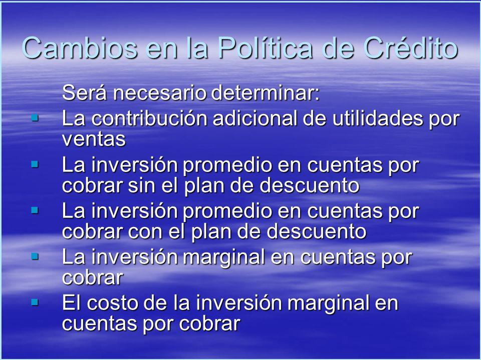 Cambios en la Política de Crédito
