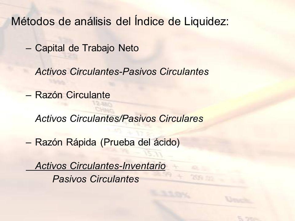 Métodos de análisis del Índice de Liquidez: