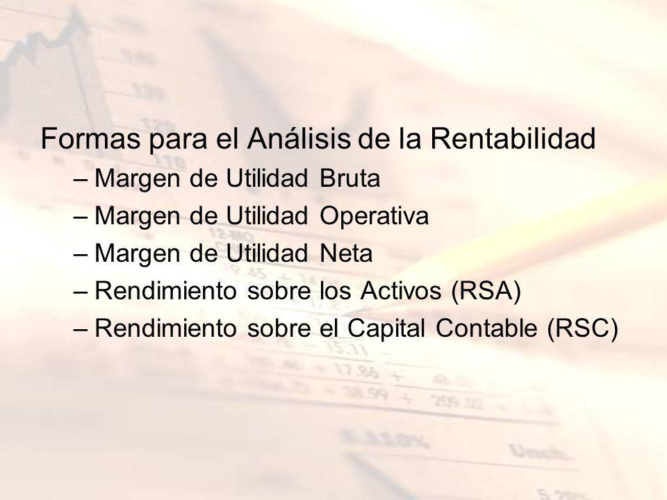 Formas para el Análisis de la Rentabilidad