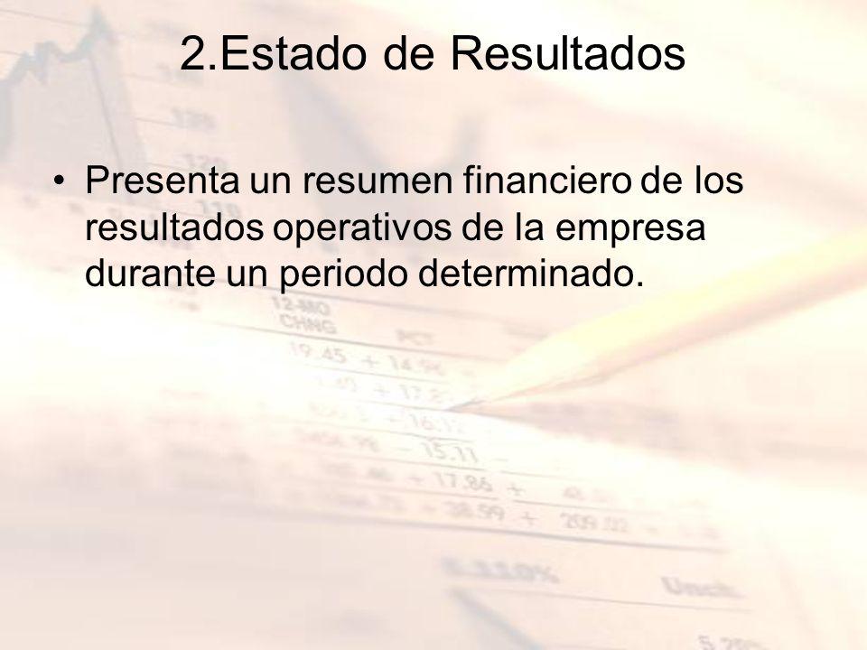 2.Estado de Resultados Presenta un resumen financiero de los resultados operativos de la empresa durante un periodo determinado.