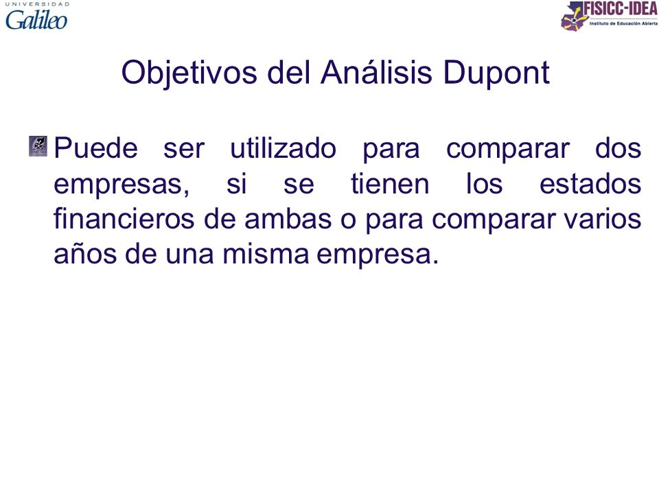 Objetivos del Análisis Dupont