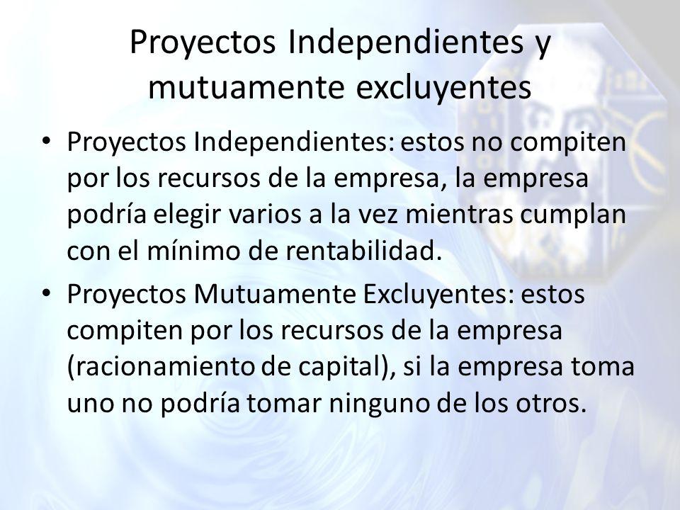 Proyectos Independientes y mutuamente excluyentes