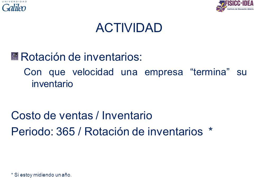 ACTIVIDAD Rotación de inventarios: Costo de ventas / Inventario