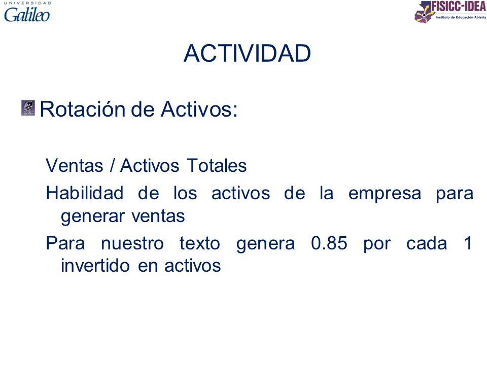 ACTIVIDAD Rotación de Activos: Ventas / Activos Totales