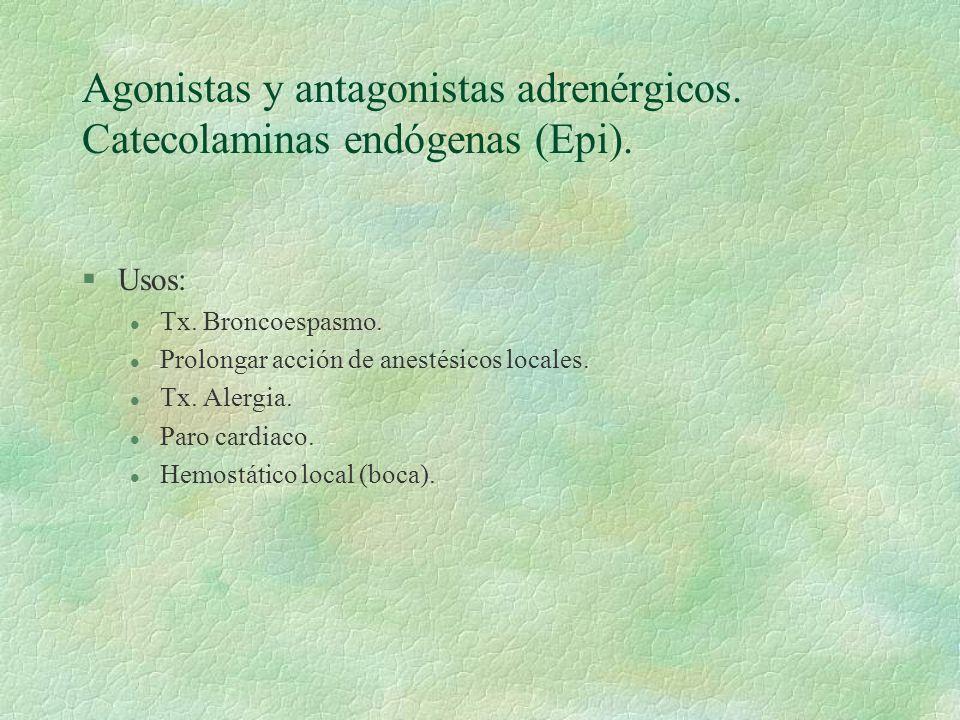 Agonistas y antagonistas adrenérgicos. Catecolaminas endógenas (Epi).