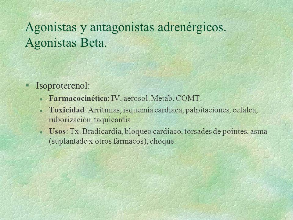 Agonistas y antagonistas adrenérgicos. Agonistas Beta.