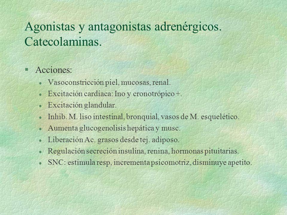 Agonistas y antagonistas adrenérgicos. Catecolaminas.