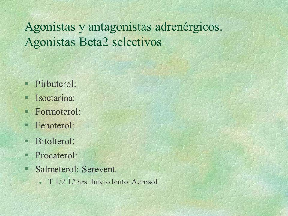 Agonistas y antagonistas adrenérgicos. Agonistas Beta2 selectivos