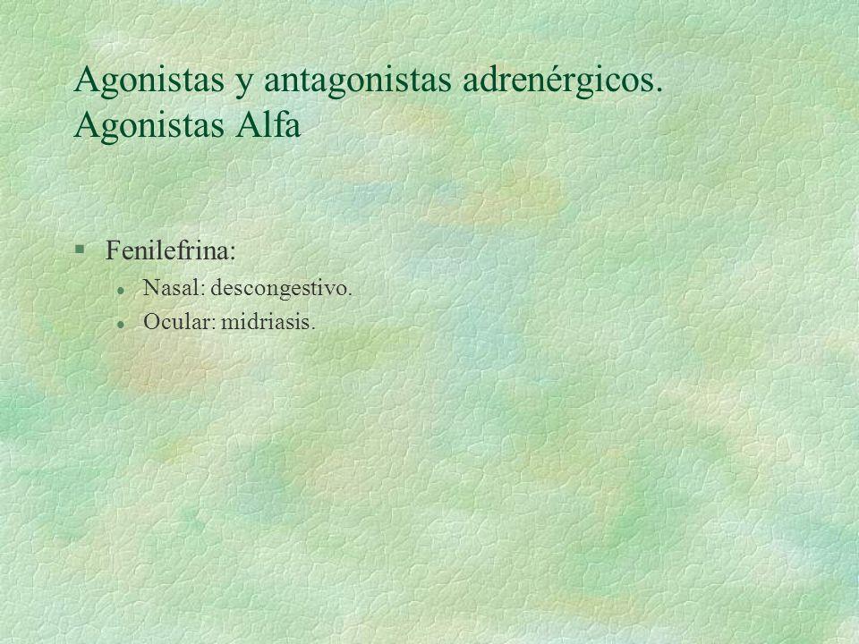 Agonistas y antagonistas adrenérgicos. Agonistas Alfa