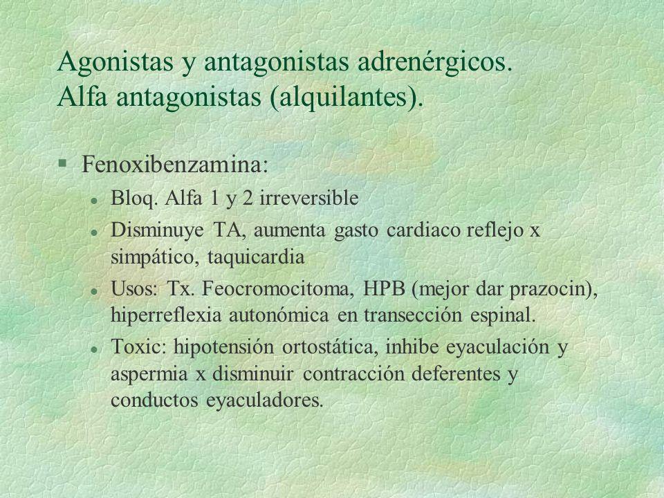 Agonistas y antagonistas adrenérgicos. Alfa antagonistas (alquilantes).