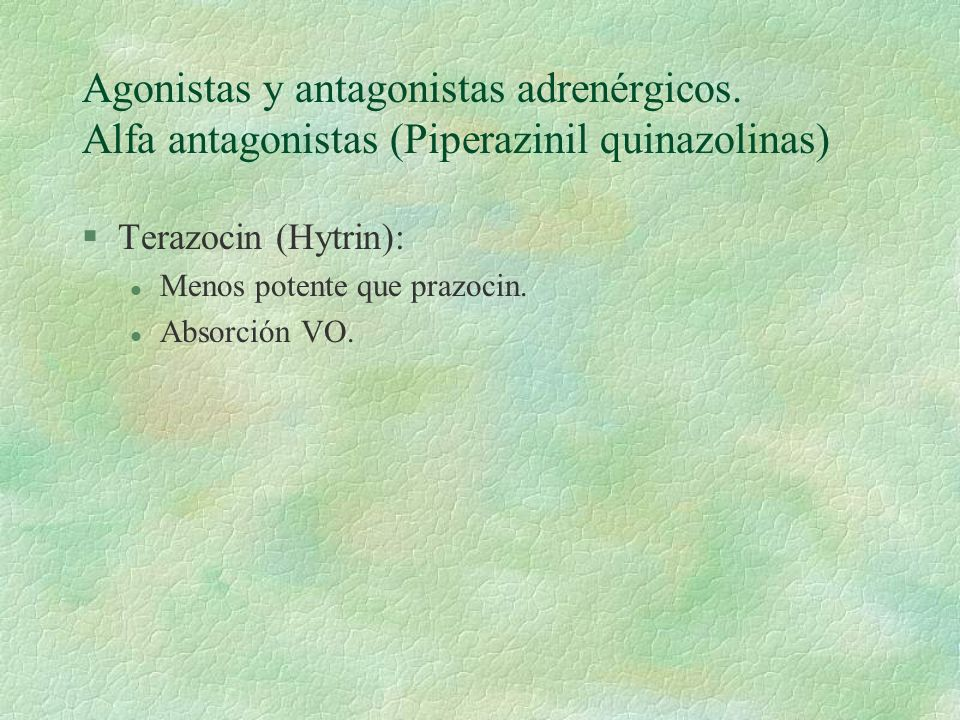 Agonistas y antagonistas adrenérgicos